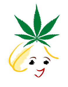 The Grass for Geezers Logo. A cartoon woman's head with a grass hat.
